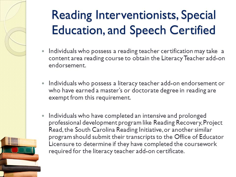 Reading Interventionists, Special Education, and Speech Certified