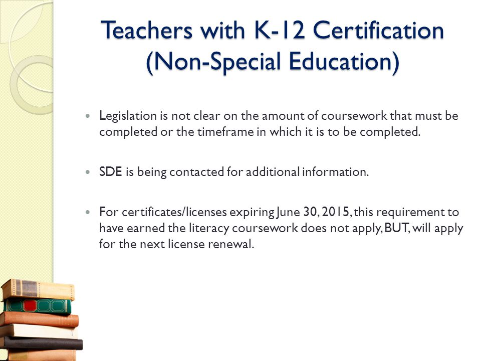 Teachers with K-12 Certification (Non-Special Education)