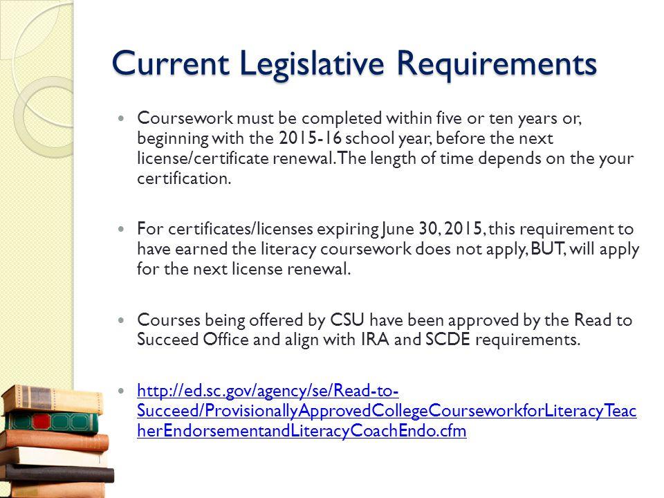 Current Legislative Requirements