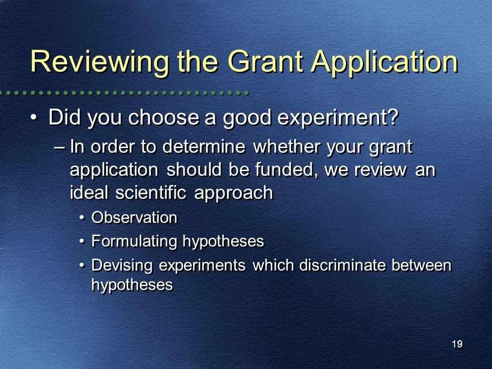 Reviewing the Grant Application
