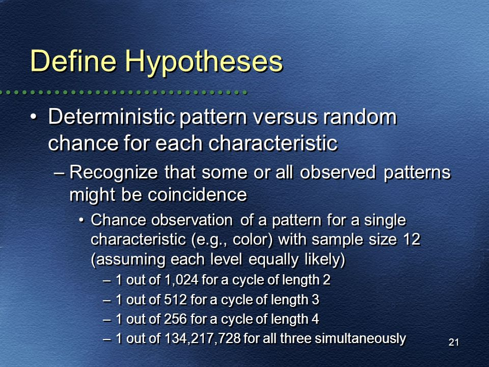 Define Hypotheses Deterministic pattern versus random chance for each characteristic.