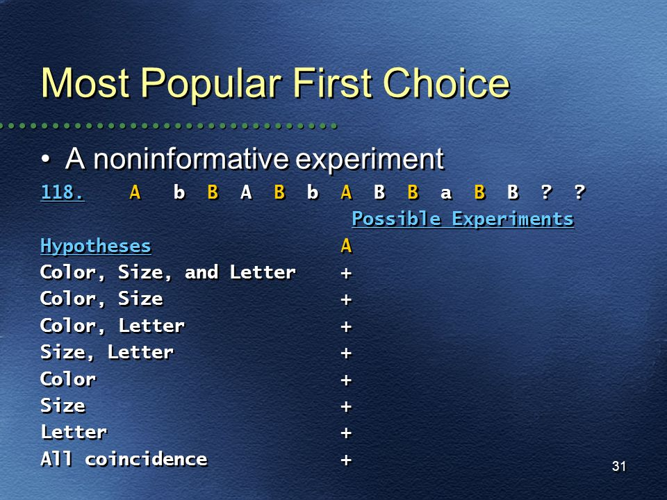 Most Popular First Choice