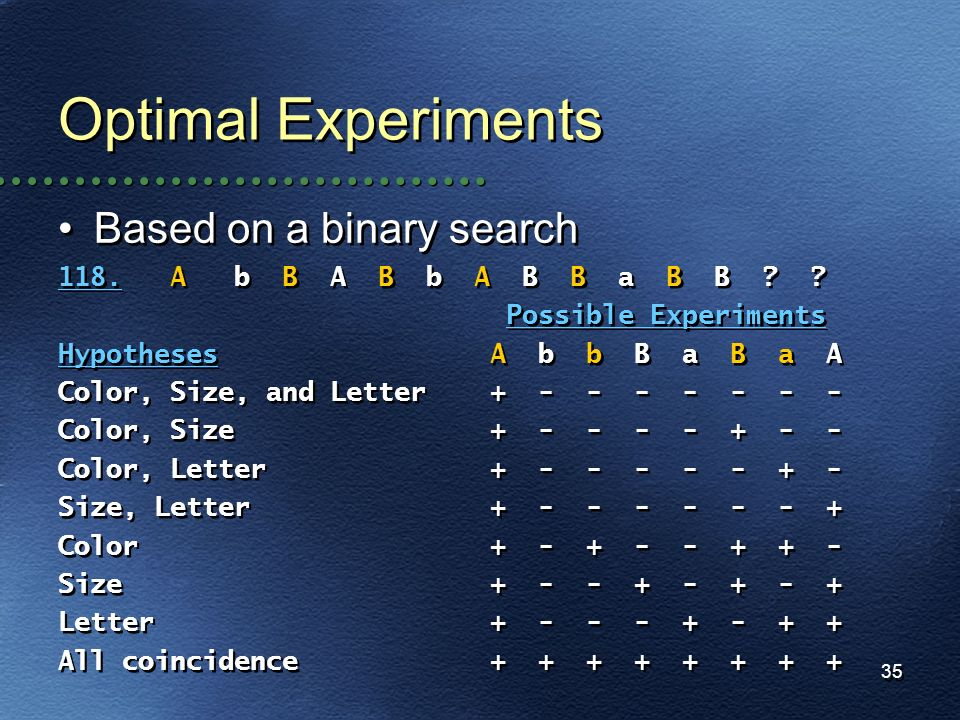 Optimal Experiments Based on a binary search