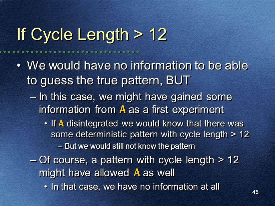 If Cycle Length > 12 We would have no information to be able to guess the true pattern, BUT.