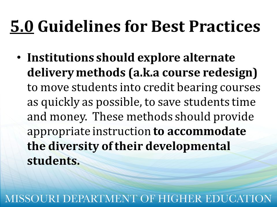 5.0 Guidelines for Best Practices