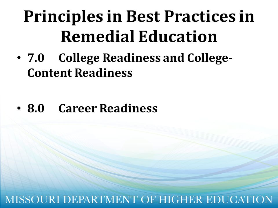 Principles in Best Practices in Remedial Education