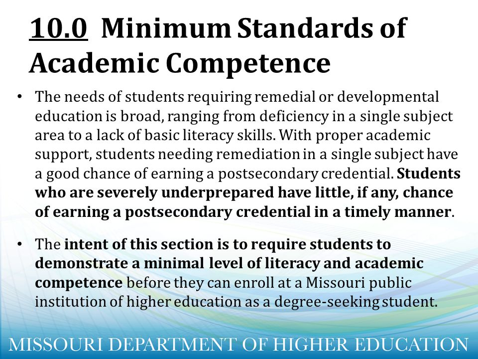 10.0 Minimum Standards of Academic Competence
