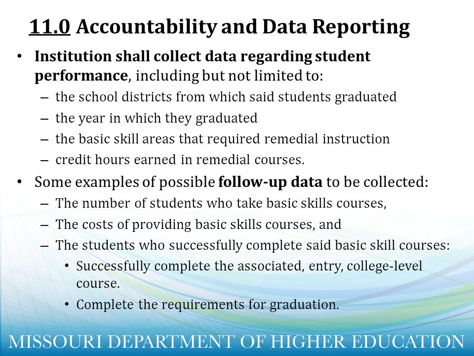 11.0 Accountability and Data Reporting