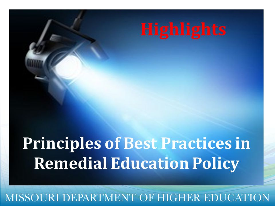 Principles of Best Practices in Remedial Education Policy
