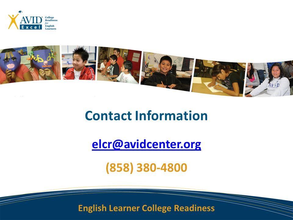 elcr@avidcenter.org (858) 380-4800
