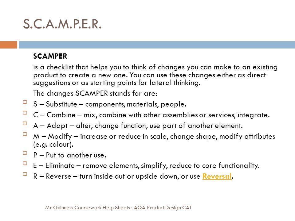 S.C.A.M.P.E.R. SCAMPER.