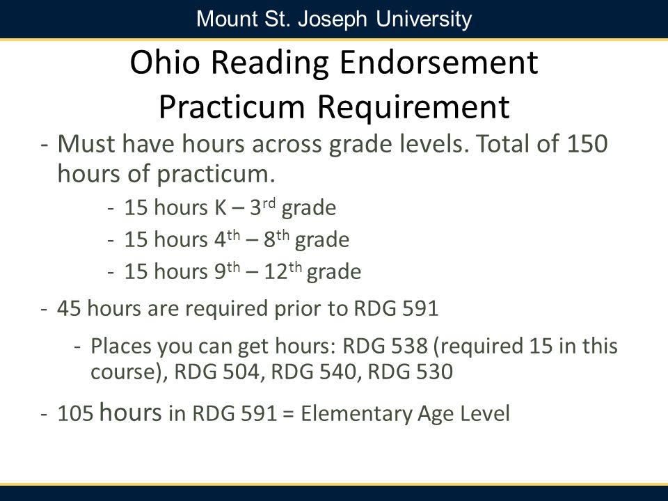 Ohio Reading Endorsement Practicum Requirement