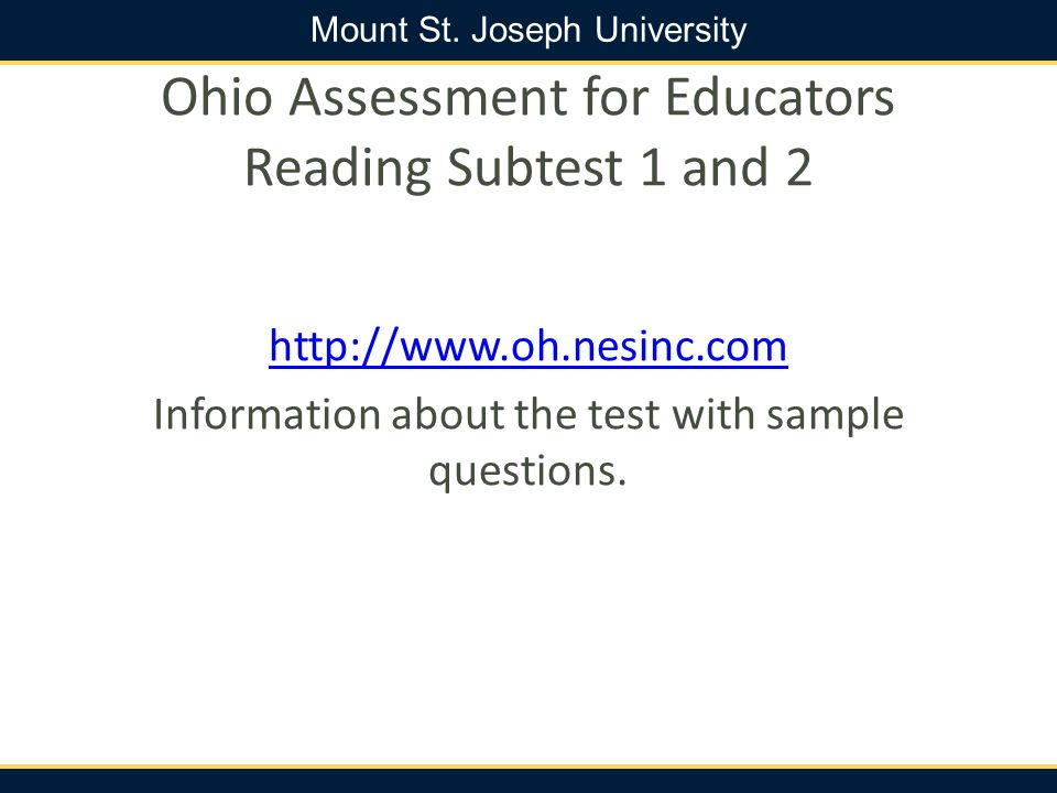 Ohio Assessment for Educators Reading Subtest 1 and 2