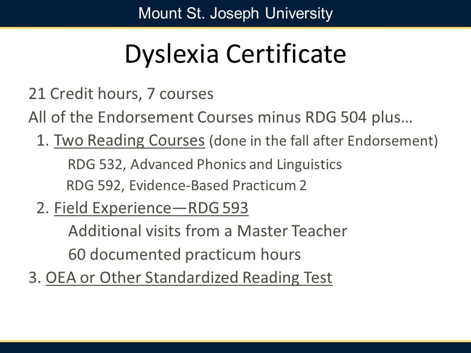 Dyslexia Certificate 21 Credit hours, 7 courses