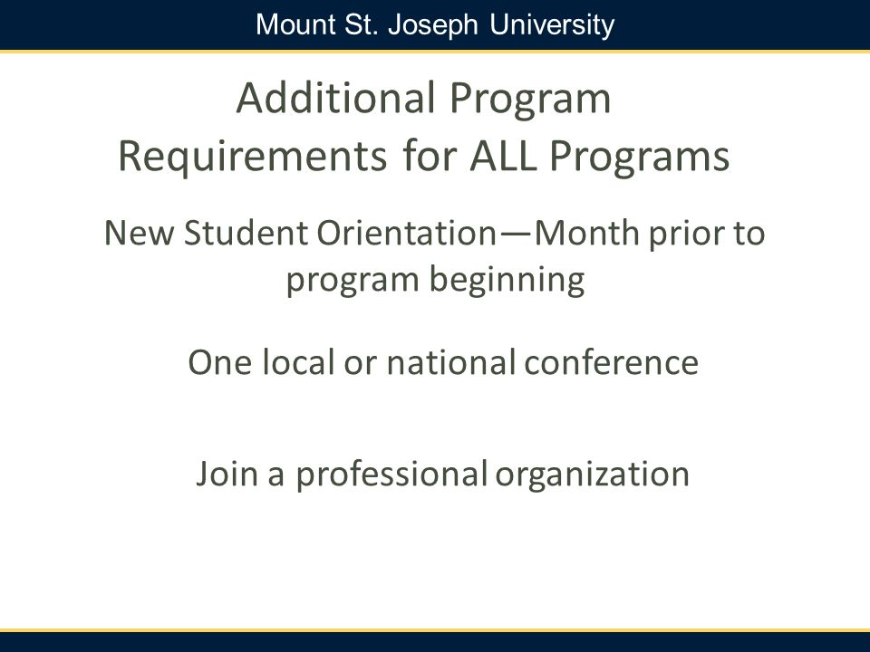 Additional Program Requirements for ALL Programs