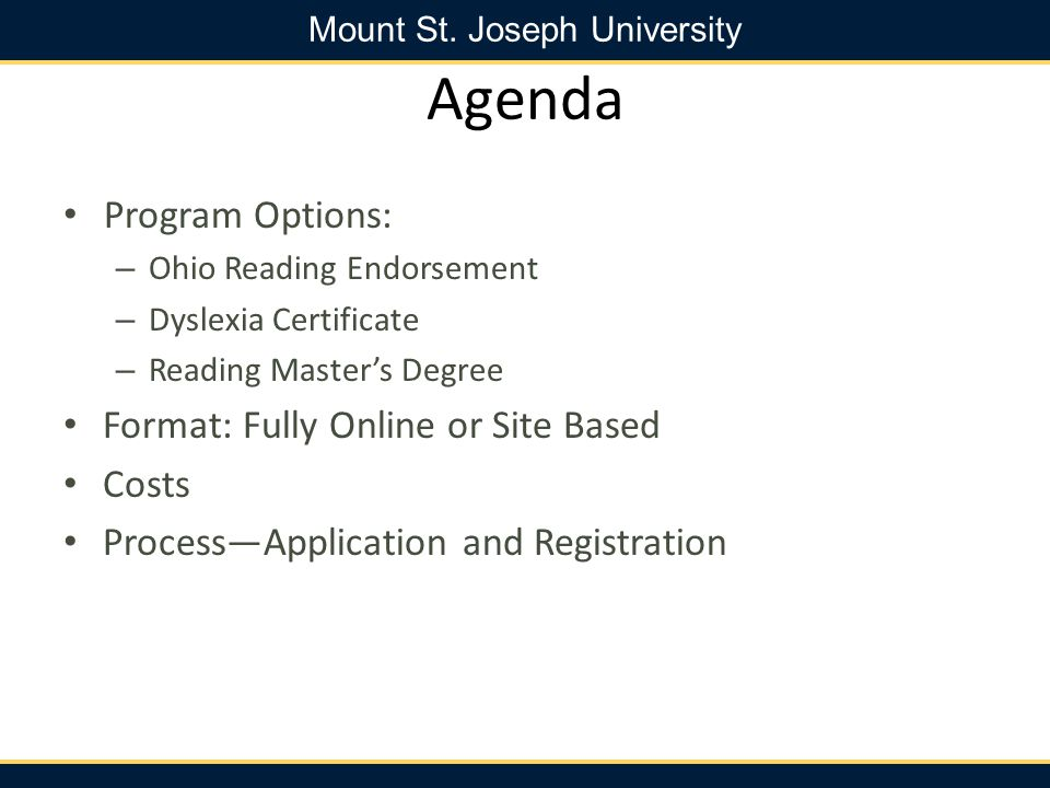Agenda Program Options: Format: Fully Online or Site Based Costs