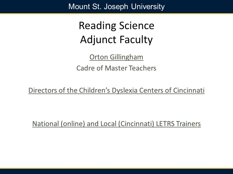 Reading Science Adjunct Faculty