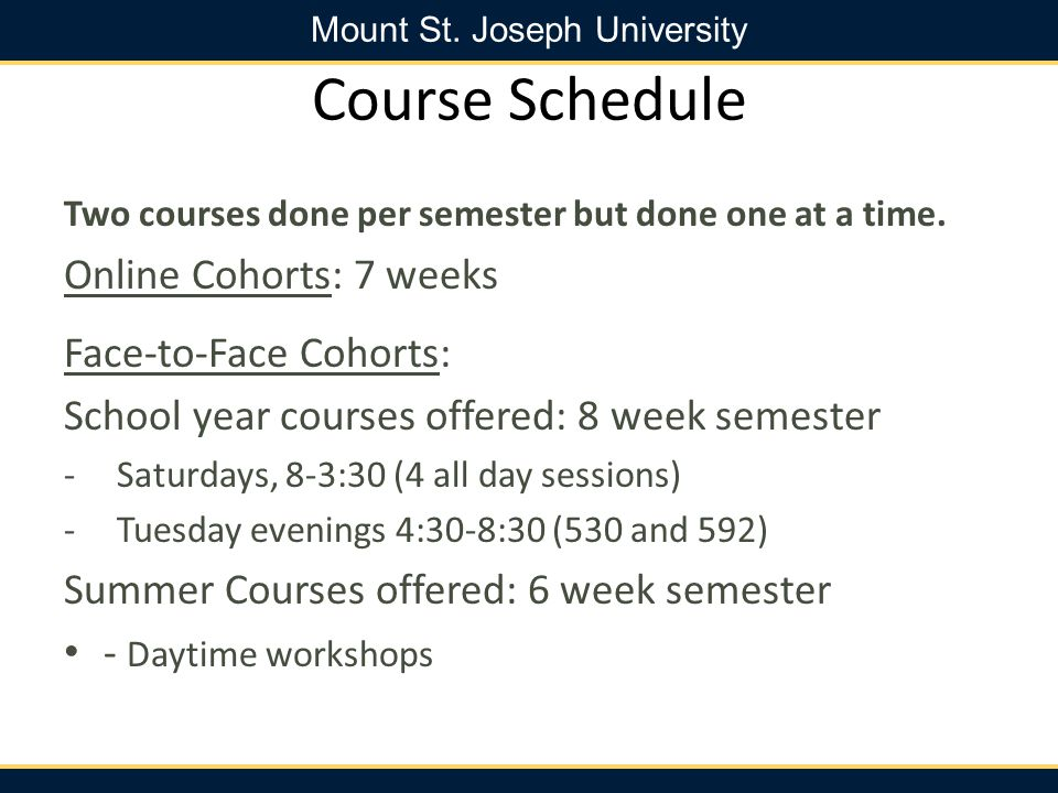 Course Schedule Online Cohorts: 7 weeks Face-to-Face Cohorts: