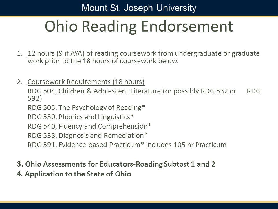 Ohio Reading Endorsement