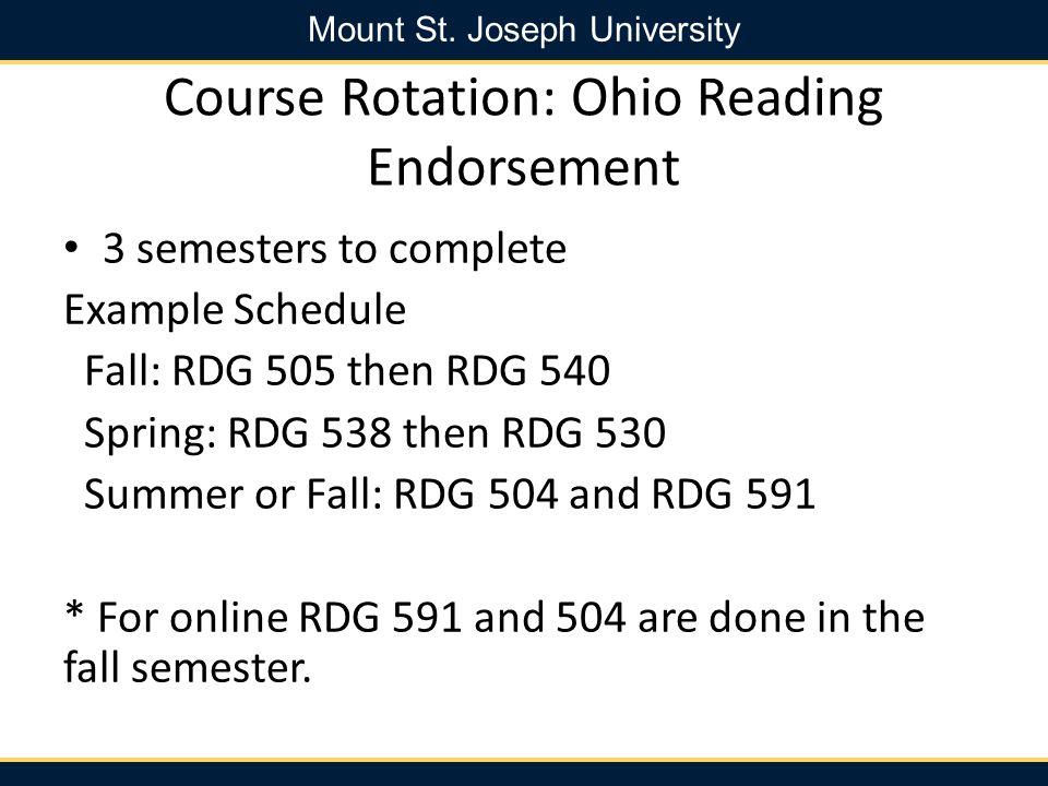 Course Rotation: Ohio Reading Endorsement