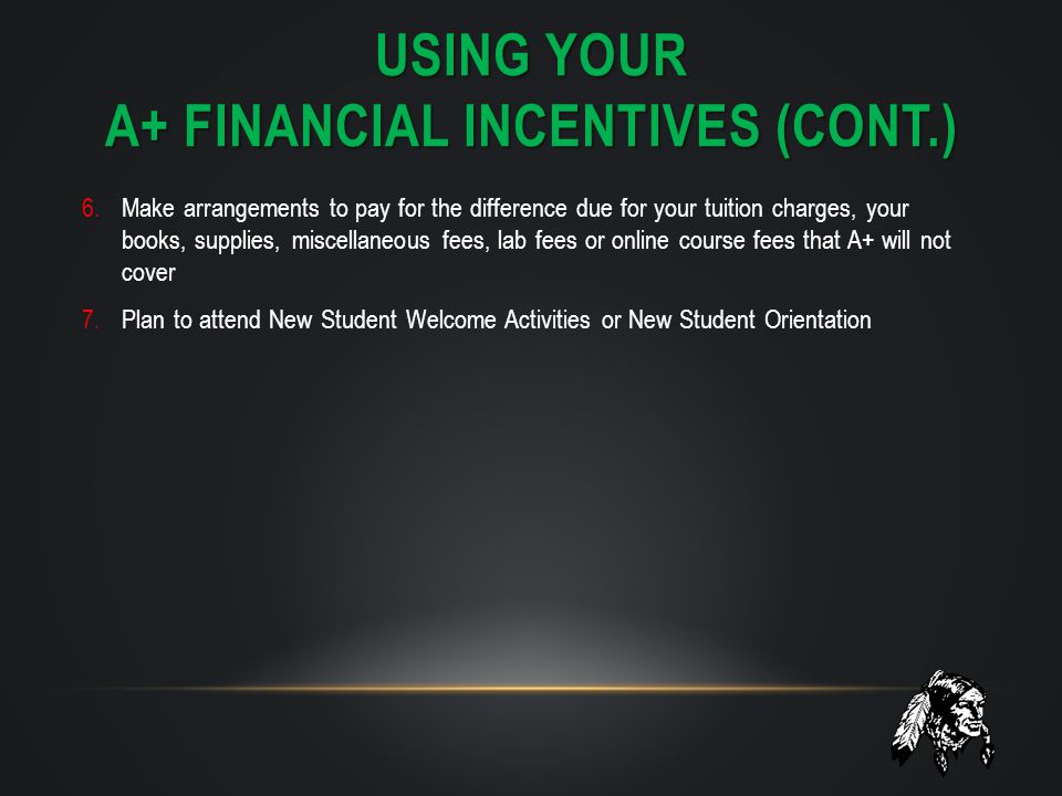 Using your A+ financial incentives (Cont.)