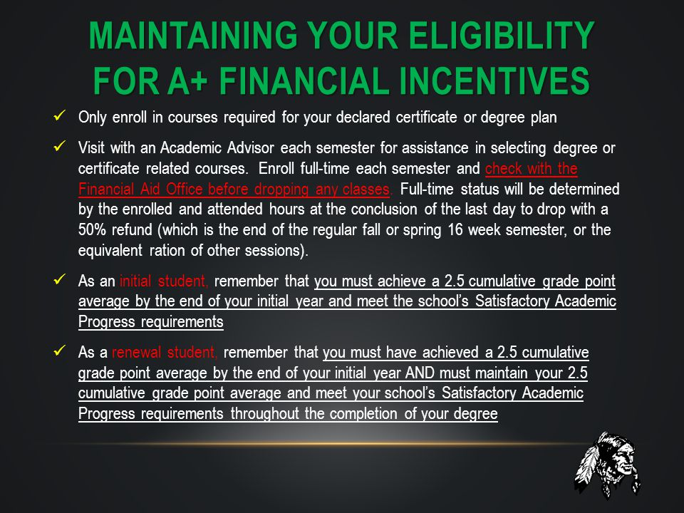 MAINTAINING YOUR ELIGIBILITY FOR a+ financial incentives