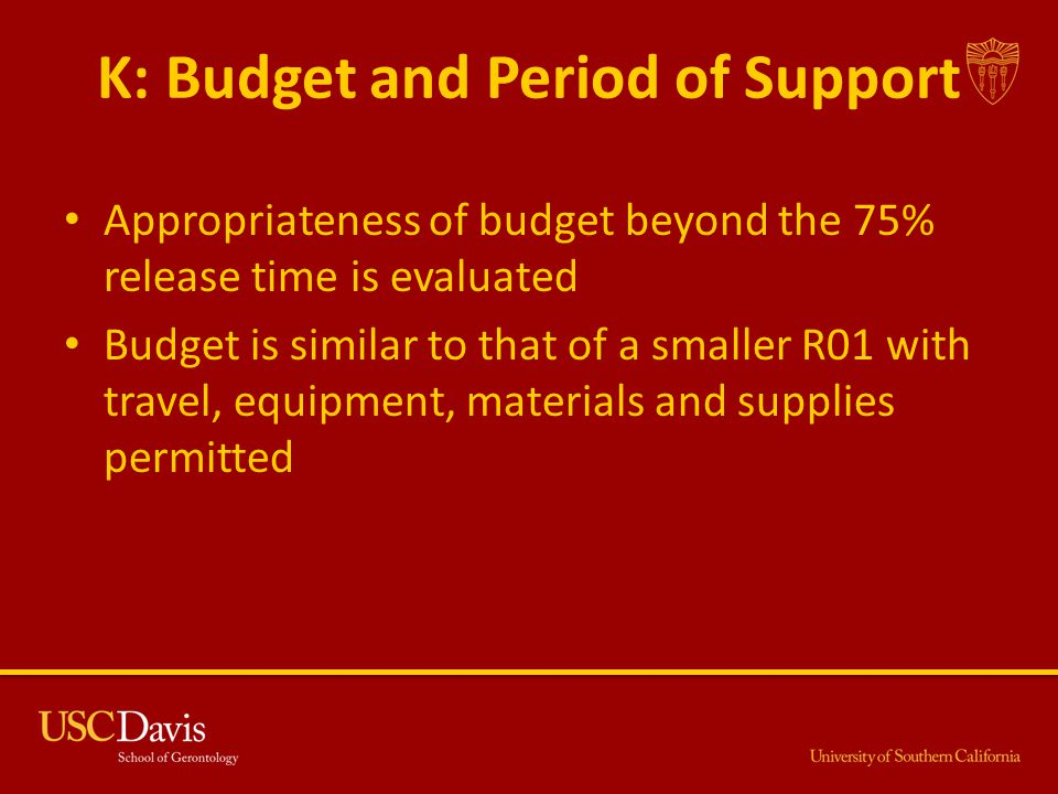 K: Budget and Period of Support