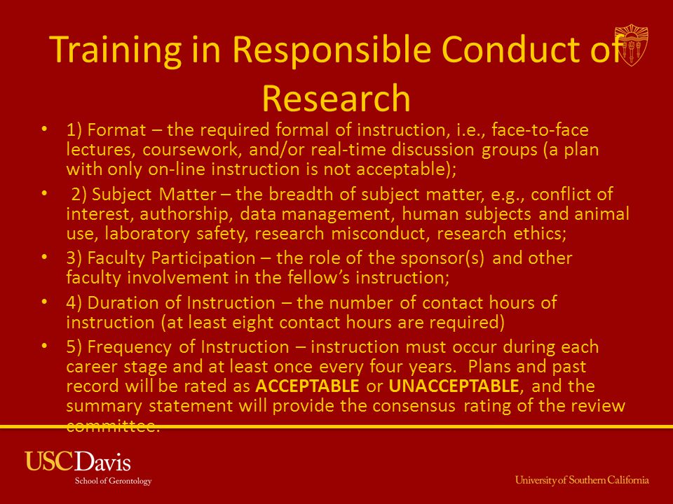 Training in Responsible Conduct of Research