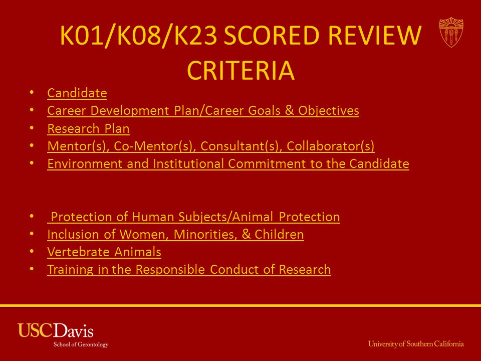 K01/K08/K23 SCORED REVIEW CRITERIA