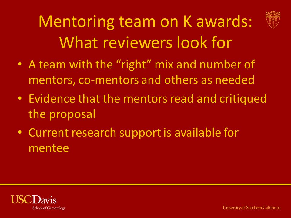 Mentoring team on K awards: What reviewers look for