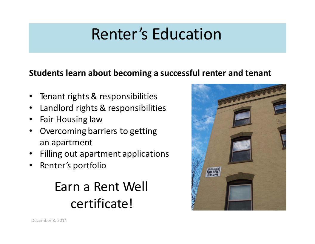 Renter's Education Earn a Rent Well certificate!