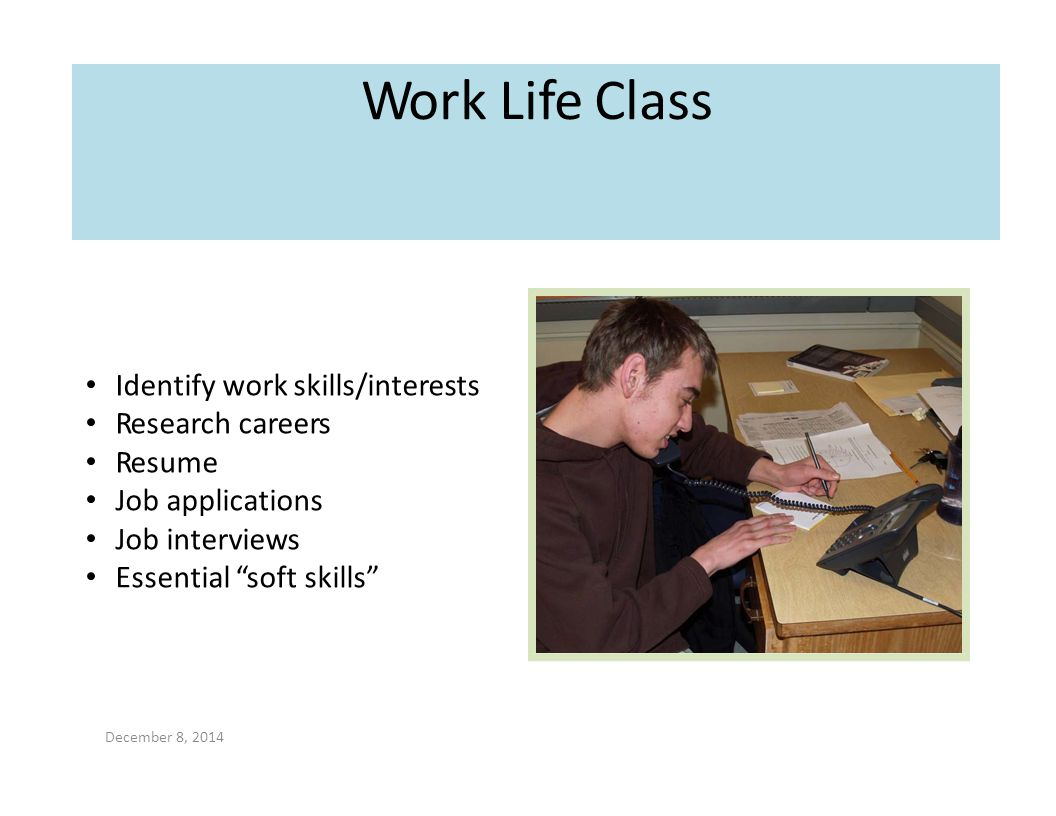 Work Life Class Identify work skills/interests Research careers Resume