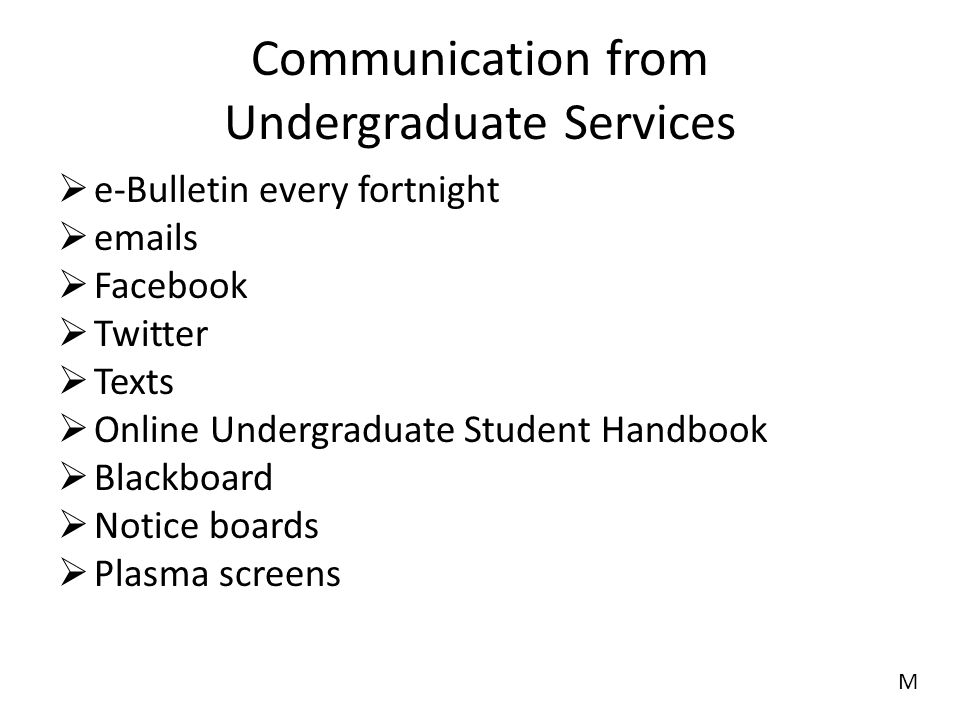 Communication from Undergraduate Services