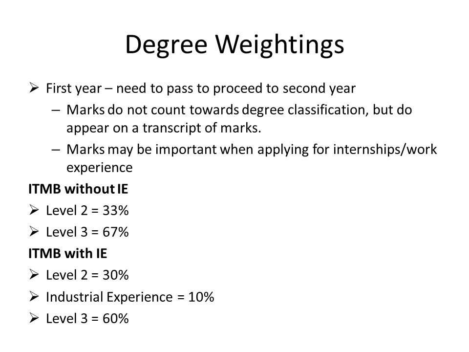 Degree Weightings First year – need to pass to proceed to second year