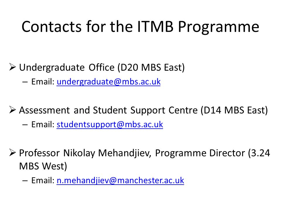 Contacts for the ITMB Programme