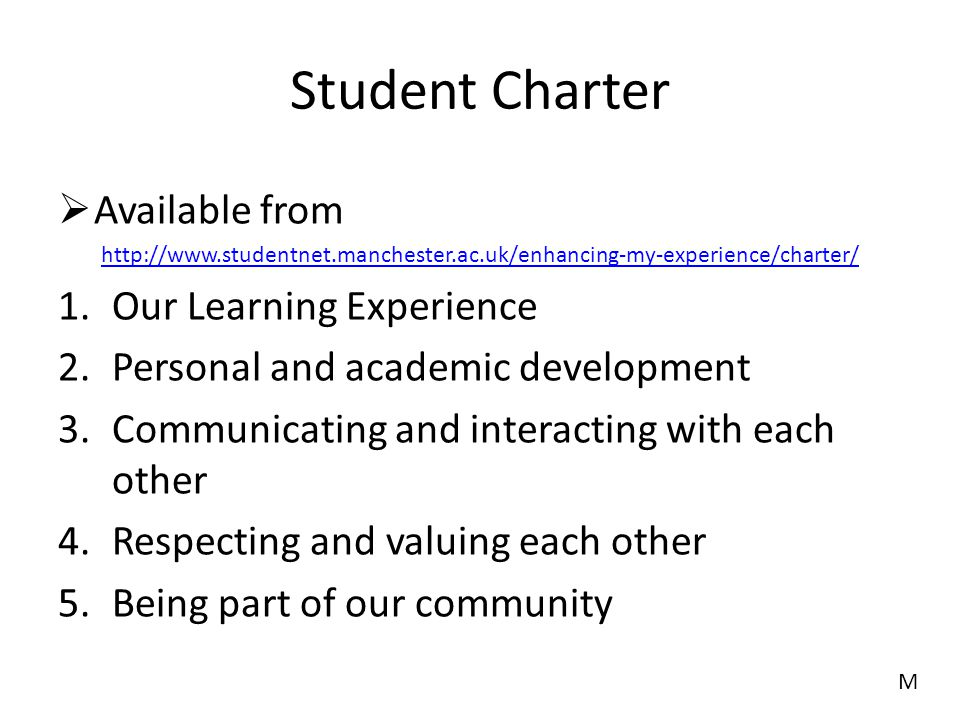 Student Charter Available from Our Learning Experience