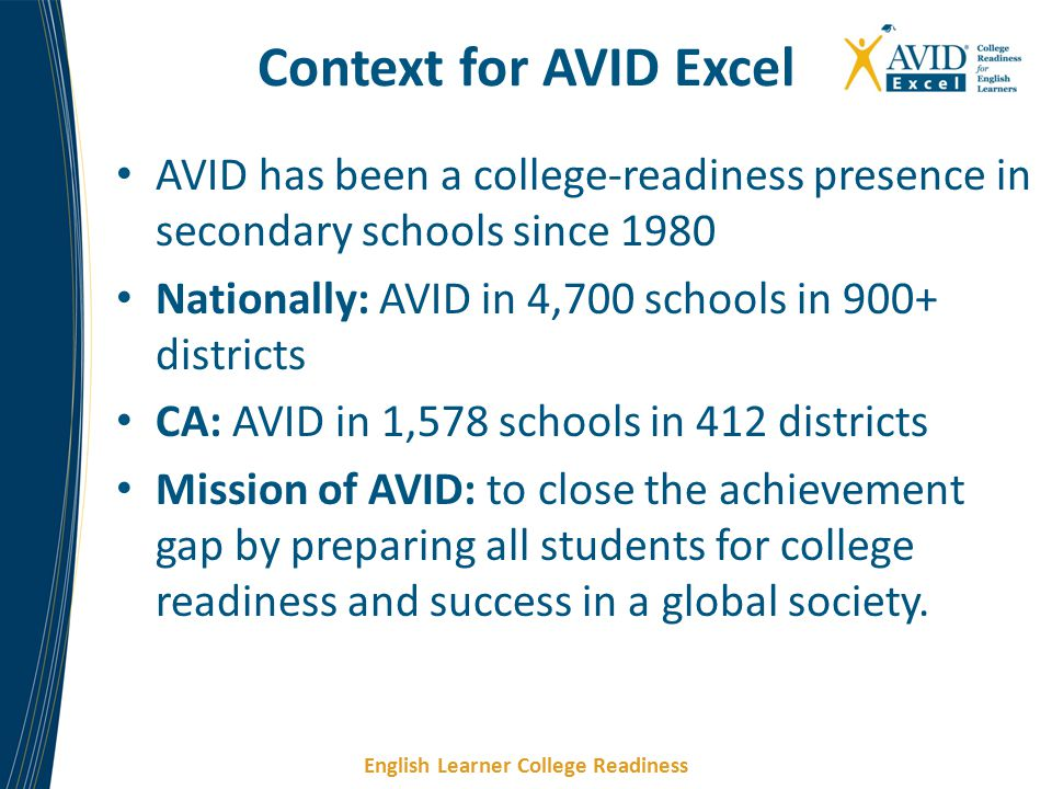 Context for AVID Excel AVID has been a college-readiness presence in secondary schools since 1980.