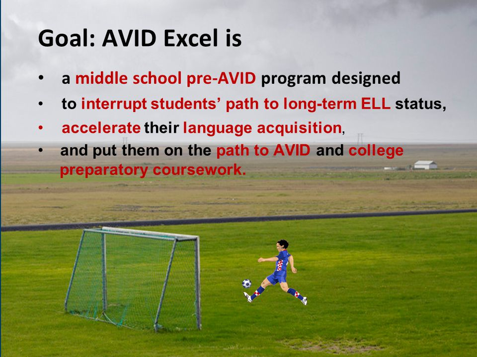 Goal: AVID Excel is a middle school pre-AVID program designed