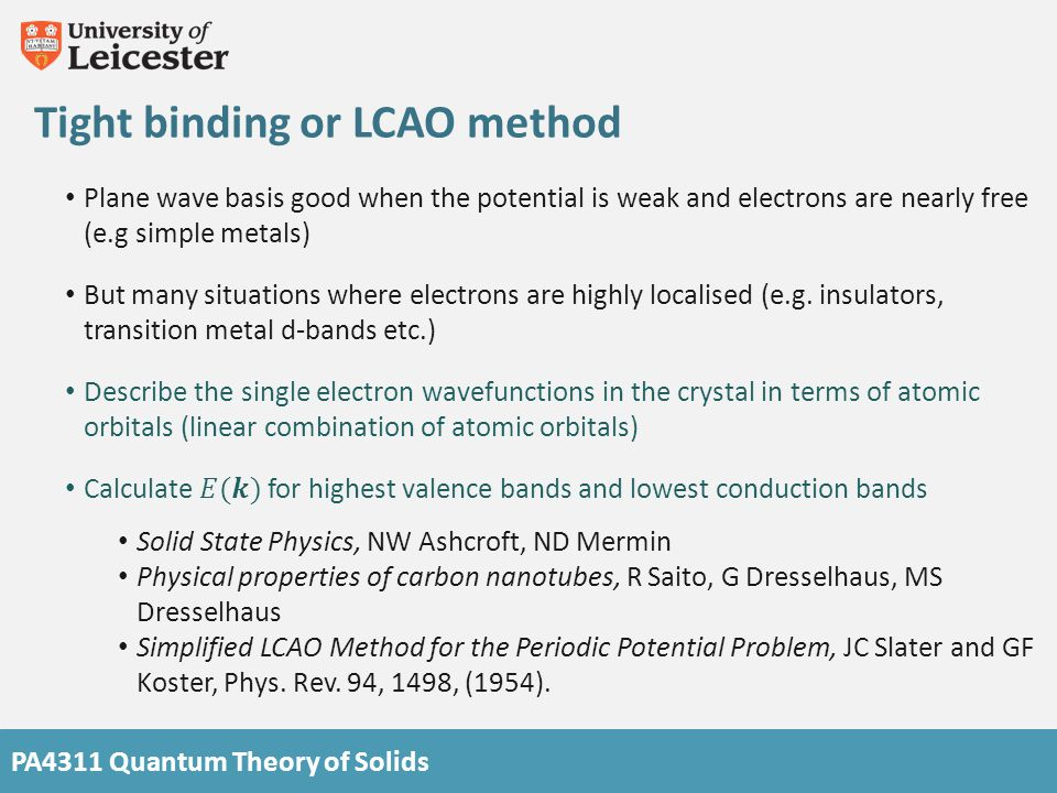 Tight binding or LCAO method