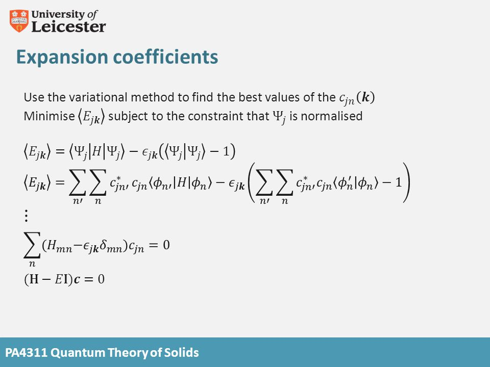 Expansion coefficients