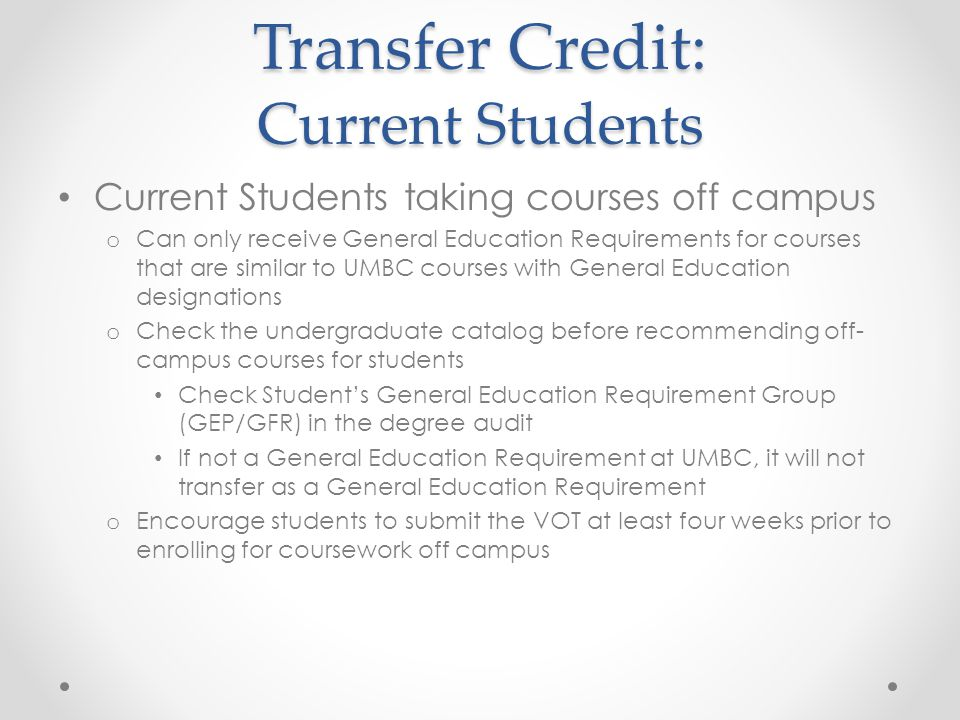 Transfer Credit: Current Students