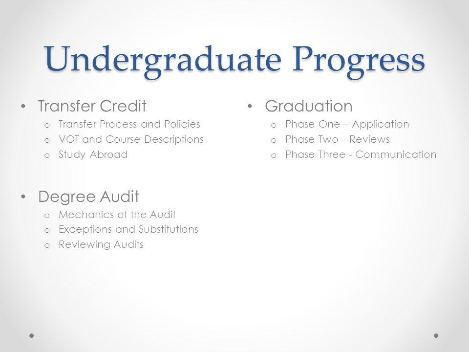 Undergraduate Progress