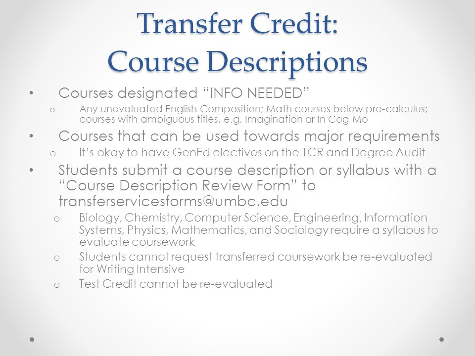 Transfer Credit: Course Descriptions