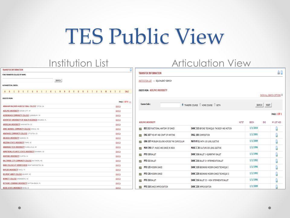 TES Public View Institution List Articulation View