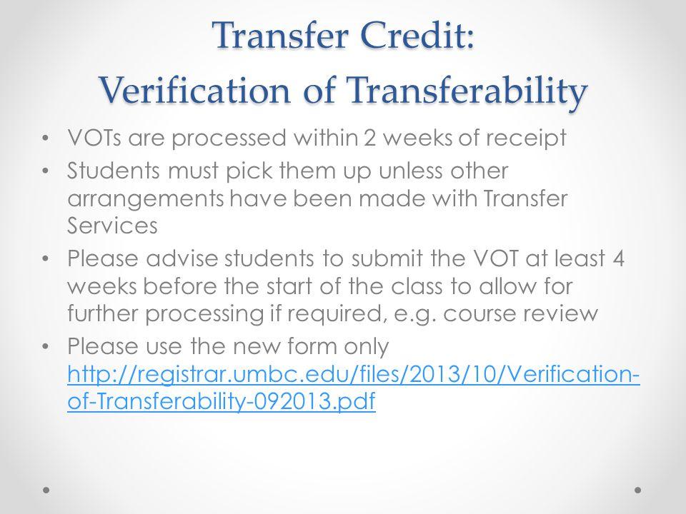 Transfer Credit: Verification of Transferability