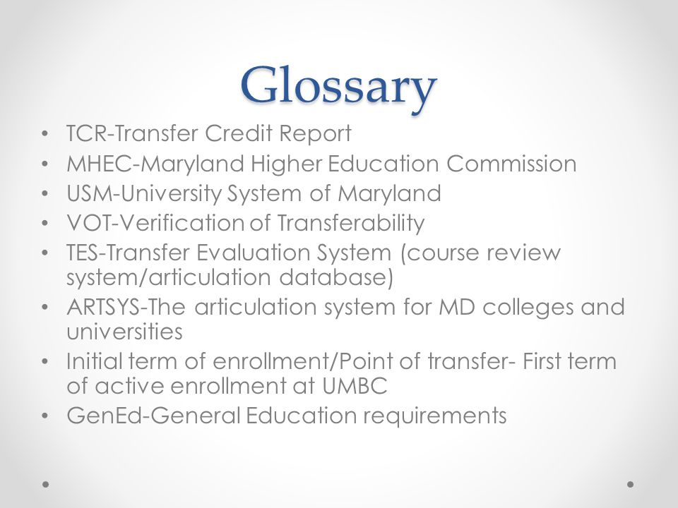 Glossary TCR-Transfer Credit Report