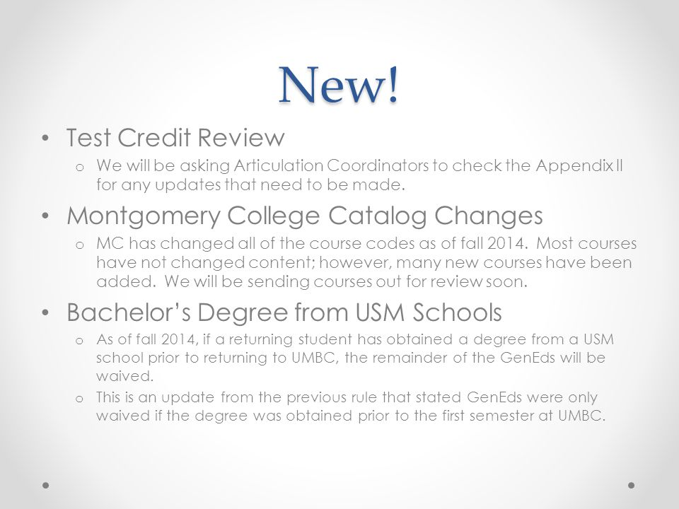 New! Test Credit Review Montgomery College Catalog Changes