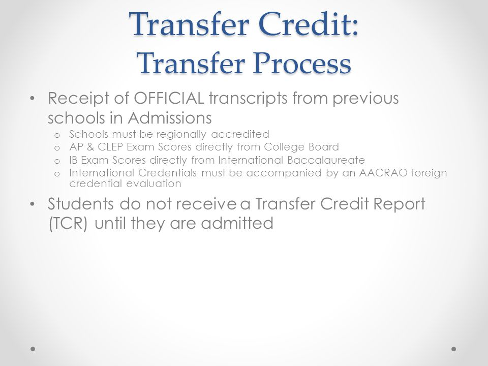 Transfer Credit: Transfer Process