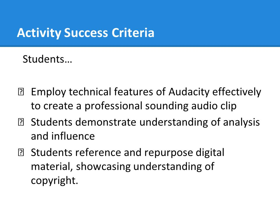 Activity Success Criteria
