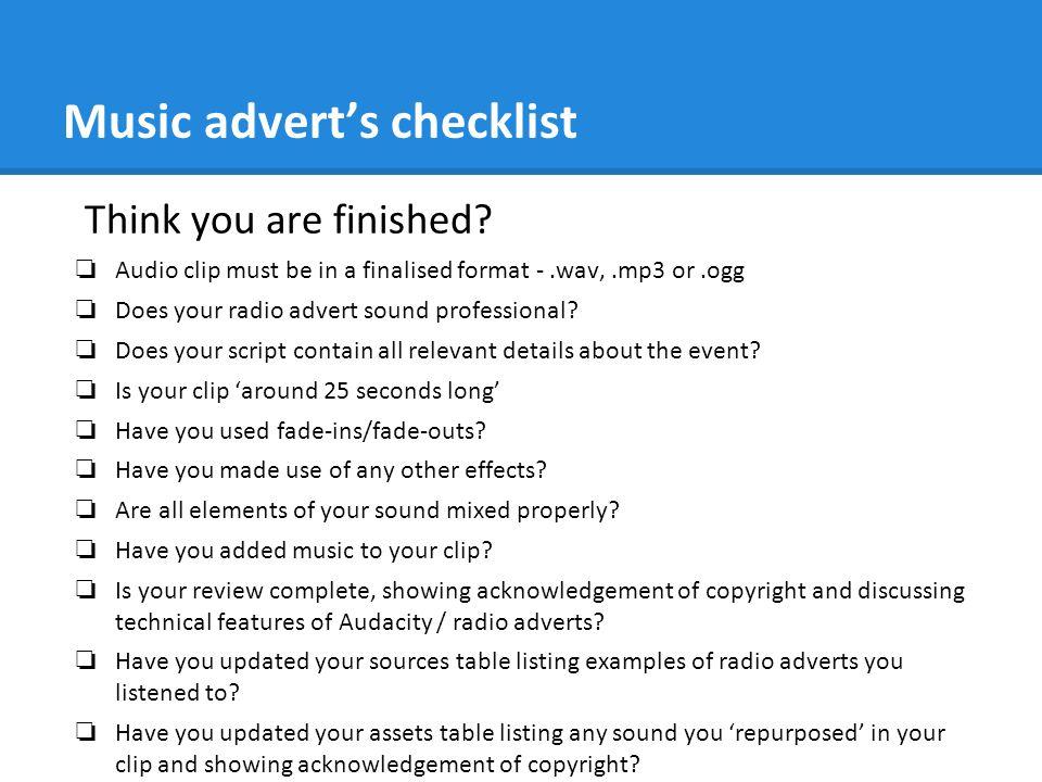 Music advert's checklist